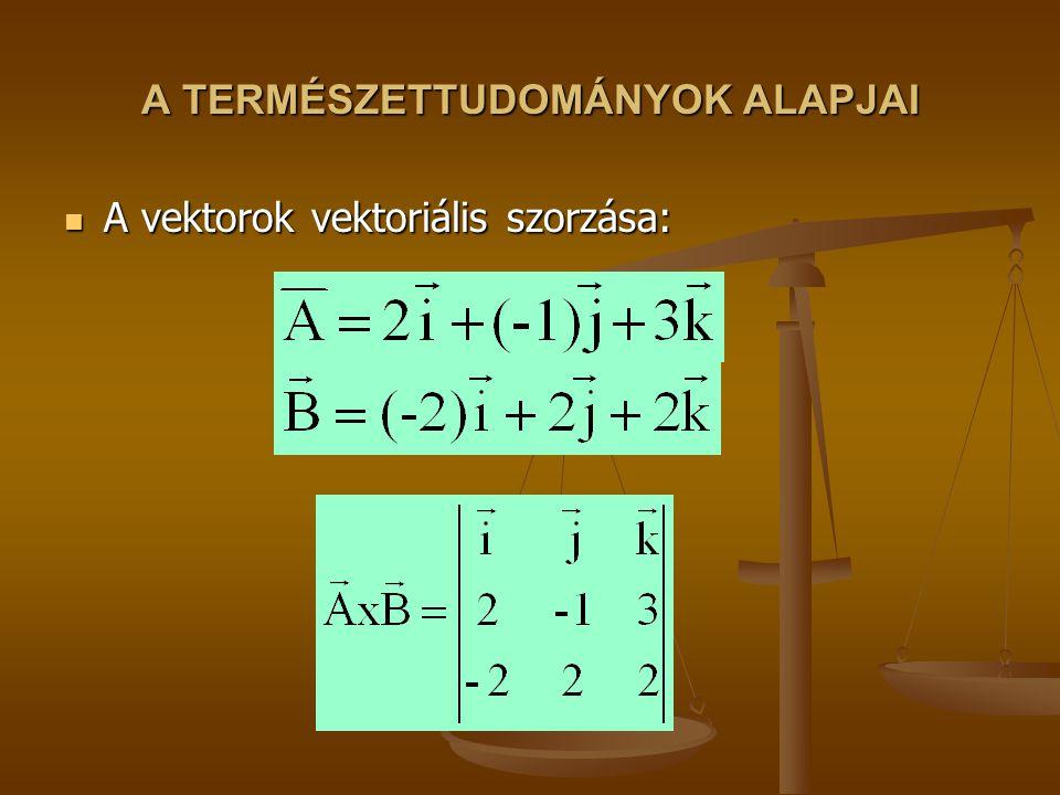 A TERMÉSZETTUDOMÁNYOK ALAPJAI A vektorok vektoriális szorzása: A vektorok vektoriális szorzása: