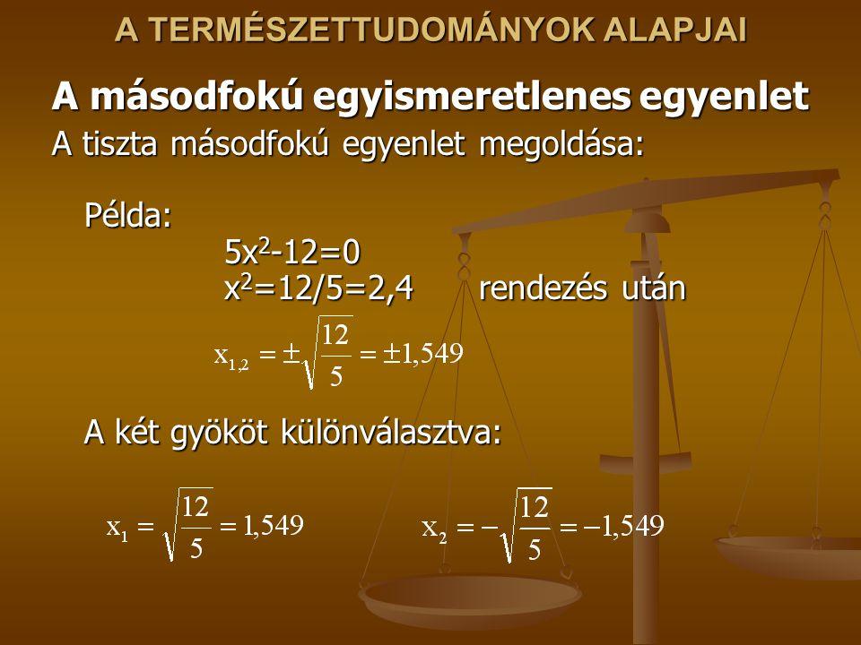 A TERMÉSZETTUDOMÁNYOK ALAPJAI A másodfokú egyismeretlenes egyenlet A tiszta másodfokú egyenlet megoldása: Példa: 5x 2 -12=0 x 2 =12/5=2,4 rendezés után A két gyököt különválasztva: A tiszta másodfokú egyenlet megoldása: Példa: 5x 2 -12=0 x 2 =12/5=2,4 rendezés után A két gyököt különválasztva: