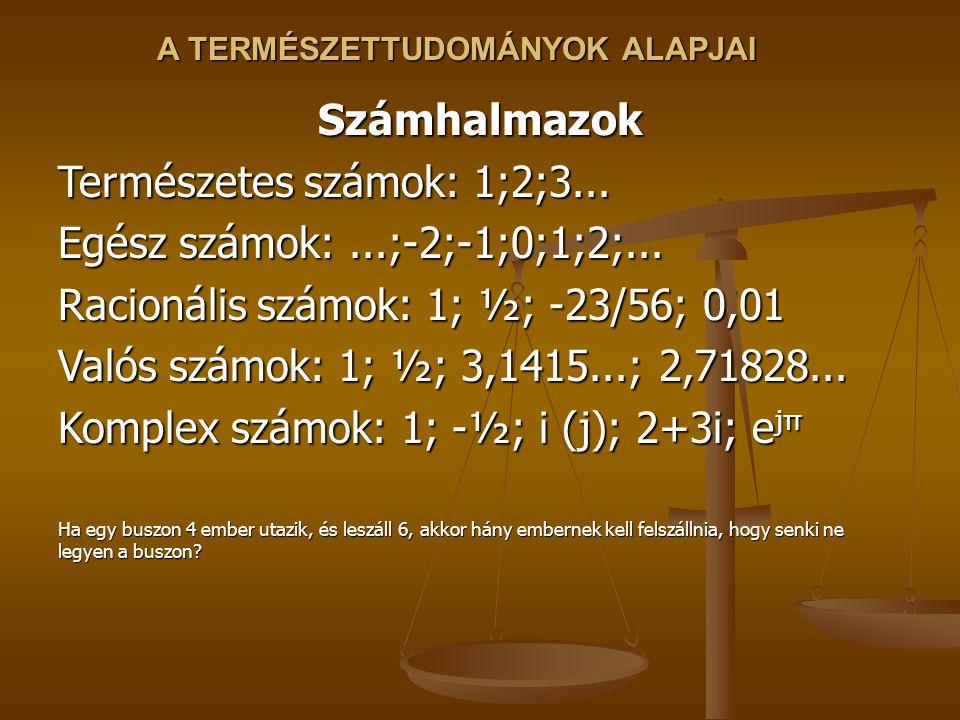 A TERMÉSZETTUDOMÁNYOK ALAPJAI Számhalmazok Természetes számok: 1;2;3...