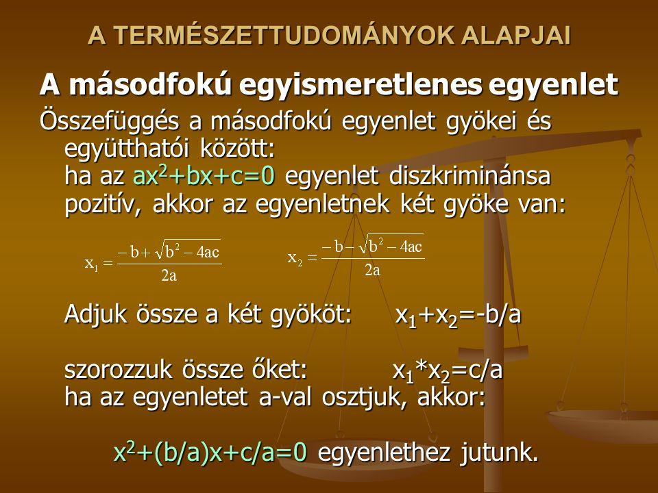 A TERMÉSZETTUDOMÁNYOK ALAPJAI A másodfokú egyismeretlenes egyenlet Összefüggés a másodfokú egyenlet gyökei és együtthatói között: ha az ax 2 +bx+c=0 egyenlet diszkriminánsa pozitív, akkor az egyenletnek két gyöke van: Adjuk össze a két gyököt: x 1 +x 2 =-b/a szorozzuk össze őket: x 1 *x 2 =c/a ha az egyenletet a-val osztjuk, akkor: x 2 +(b/a)x+c/a=0 egyenlethez jutunk.