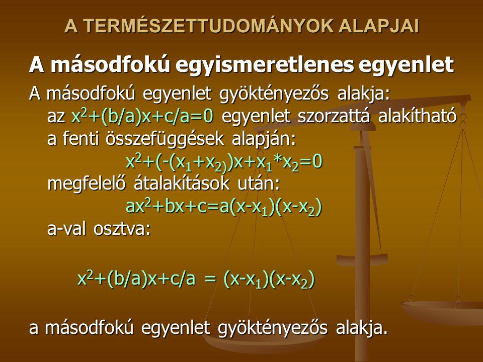 A TERMÉSZETTUDOMÁNYOK ALAPJAI A másodfokú egyismeretlenes egyenlet A másodfokú egyenlet gyöktényezős alakja: az x 2 +(b/a)x+c/a=0 egyenlet szorzattá alakítható a fenti összefüggések alapján: x 2 +(-(x 1 +x 2) )x+x 1 *x 2 =0 megfelelő átalakítások után: ax 2 +bx+c=a(x-x 1 )(x-x 2 ) a-val osztva: x 2 +(b/a)x+c/a = (x-x 1 )(x-x 2 ) x 2 +(b/a)x+c/a = (x-x 1 )(x-x 2 ) a másodfokú egyenlet gyöktényezős alakja.