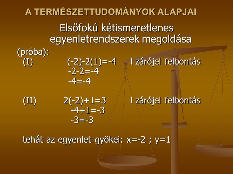 A TERMÉSZETTUDOMÁNYOK ALAPJAI Elsőfokú kétismeretlenes egyenletrendszerek megoldása (próba): (I) (-2)-2(1)=-4 l zárójel felbontás -2-2=-4 -4=-4 (II) 2(-2)+1=3 l zárójel felbontás -4+1=-3 -3=-3 tehát az egyenlet gyökei: x=-2 ; y=1 (próba): (I) (-2)-2(1)=-4 l zárójel felbontás -2-2=-4 -4=-4 (II) 2(-2)+1=3 l zárójel felbontás -4+1=-3 -3=-3 tehát az egyenlet gyökei: x=-2 ; y=1