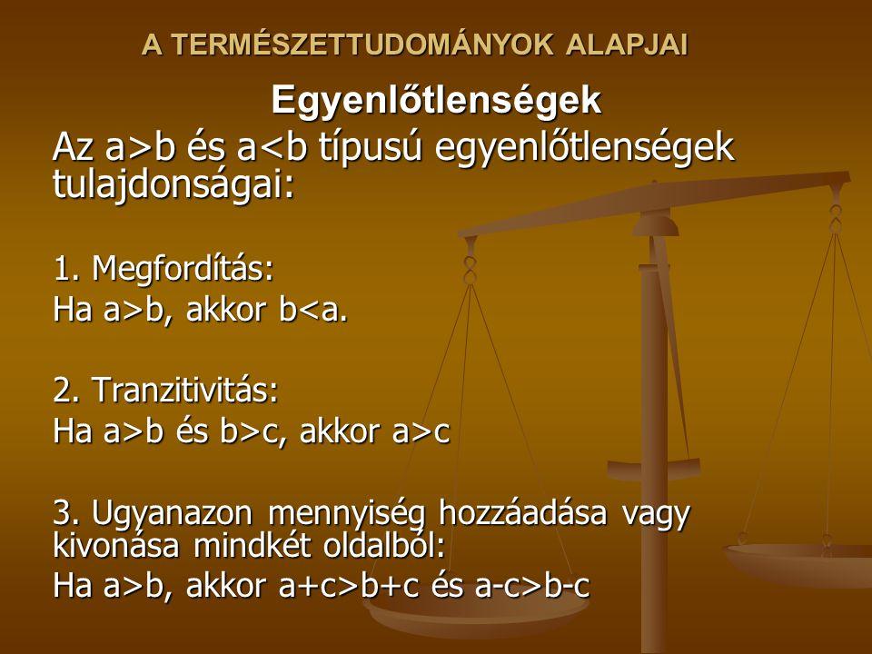 A TERMÉSZETTUDOMÁNYOK ALAPJAI Egyenlőtlenségek Az a>b és a b és a<b típusú egyenlőtlenségek tulajdonságai: 1.