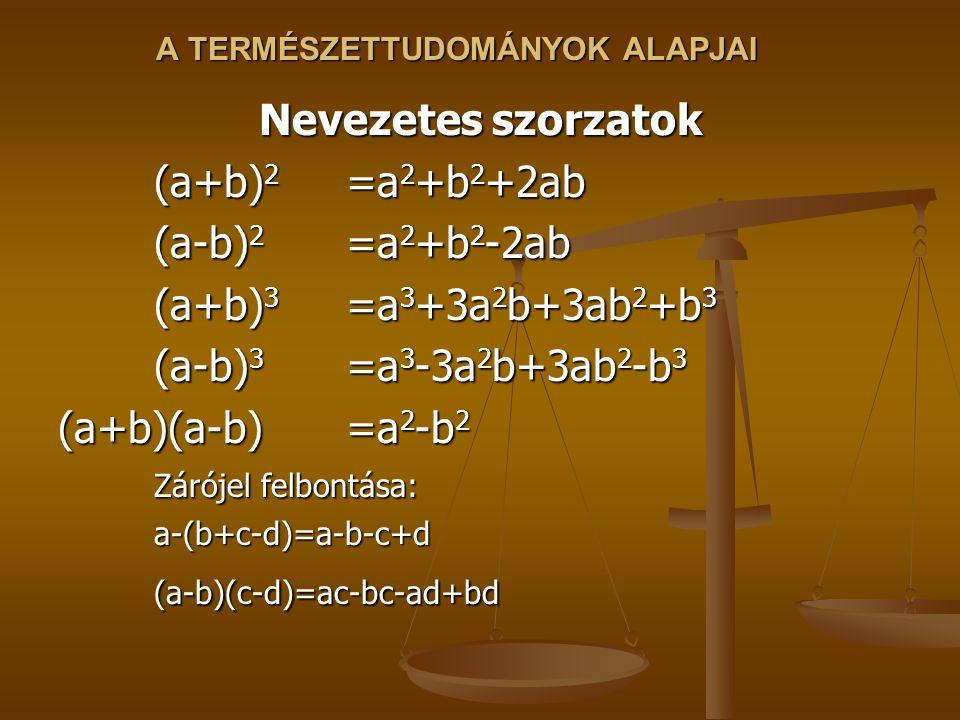 A TERMÉSZETTUDOMÁNYOK ALAPJAI Nevezetes szorzatok (a+b) 2 =a 2 +b 2 +2ab (a-b) 2 =a 2 +b 2 -2ab (a+b) 3 =a 3 +3a 2 b+3ab 2 +b 3 (a-b) 3 =a 3 -3a 2 b+3ab 2 -b 3 (a+b)(a-b)=a 2 -b 2 Zárójel felbontása: a-(b+c-d)=a-b-c+d (a-b)(c-d)=ac-bc-ad+bd