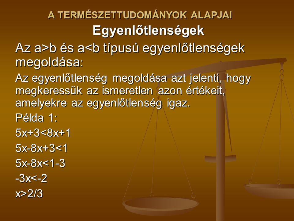 Egyenlőtlenségek Az a>b és a b és a<b típusú egyenlőtlenségek megoldása : Az egyenlőtlenség megoldása azt jelenti, hogy megkeressük az ismeretlen azon értékeit, amelyekre az egyenlőtlenség igaz.