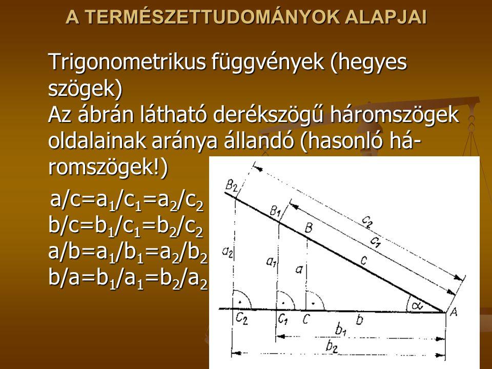 A TERMÉSZETTUDOMÁNYOK ALAPJAI Trigonometrikus függvények (hegyes szögek) Az ábrán látható derékszögű háromszögek oldalainak aránya állandó (hasonló há- romszögek!) a/c=a 1 /c 1 =a 2 /c 2 b/c=b 1 /c 1 =b 2 /c 2 a/b=a 1 /b 1 =a 2 /b 2 b/a=b 1 /a 1 =b 2 /a 2 a/c=a 1 /c 1 =a 2 /c 2 b/c=b 1 /c 1 =b 2 /c 2 a/b=a 1 /b 1 =a 2 /b 2 b/a=b 1 /a 1 =b 2 /a 2