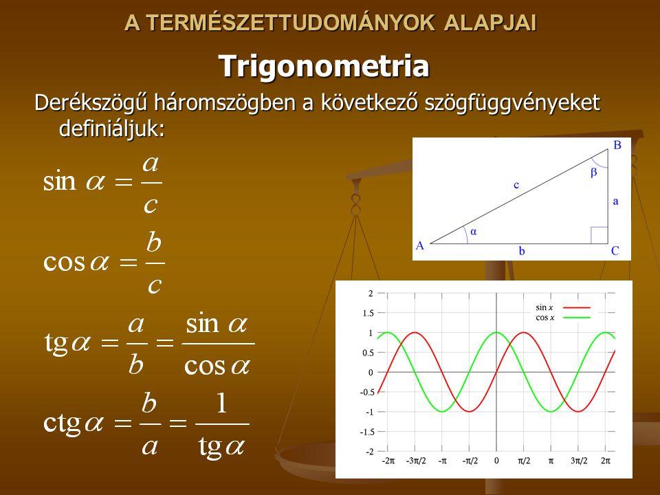 A TERMÉSZETTUDOMÁNYOK ALAPJAI Trigonometria Derékszögű háromszögben a következő szögfüggvényeket definiáljuk: