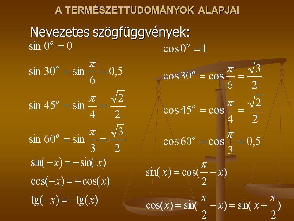 A TERMÉSZETTUDOMÁNYOK ALAPJAI Nevezetes szögfüggvények: Nevezetes szögfüggvények: