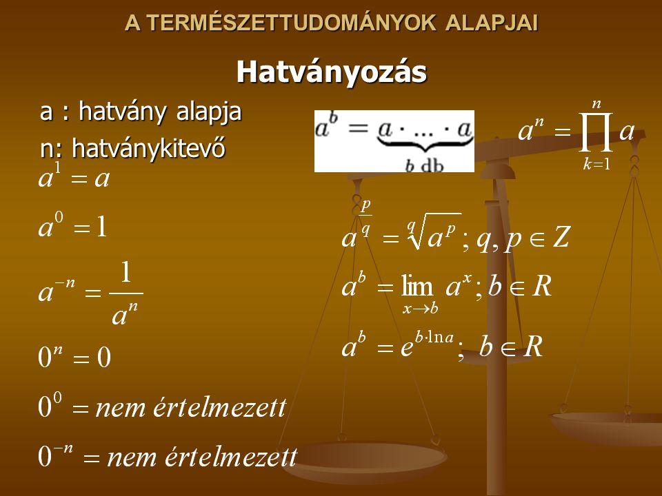 A TERMÉSZETTUDOMÁNYOK ALAPJAI Hatványozás a : hatvány alapja n: hatványkitevő