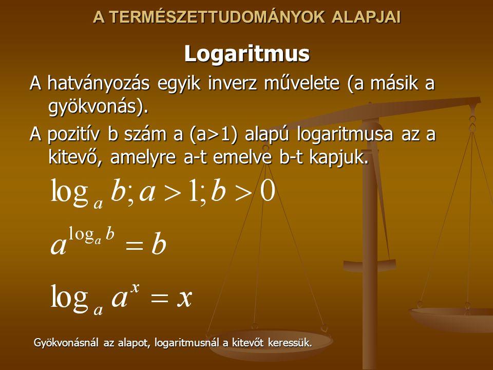 Logaritmus A hatványozás egyik inverz művelete (a másik a gyökvonás).