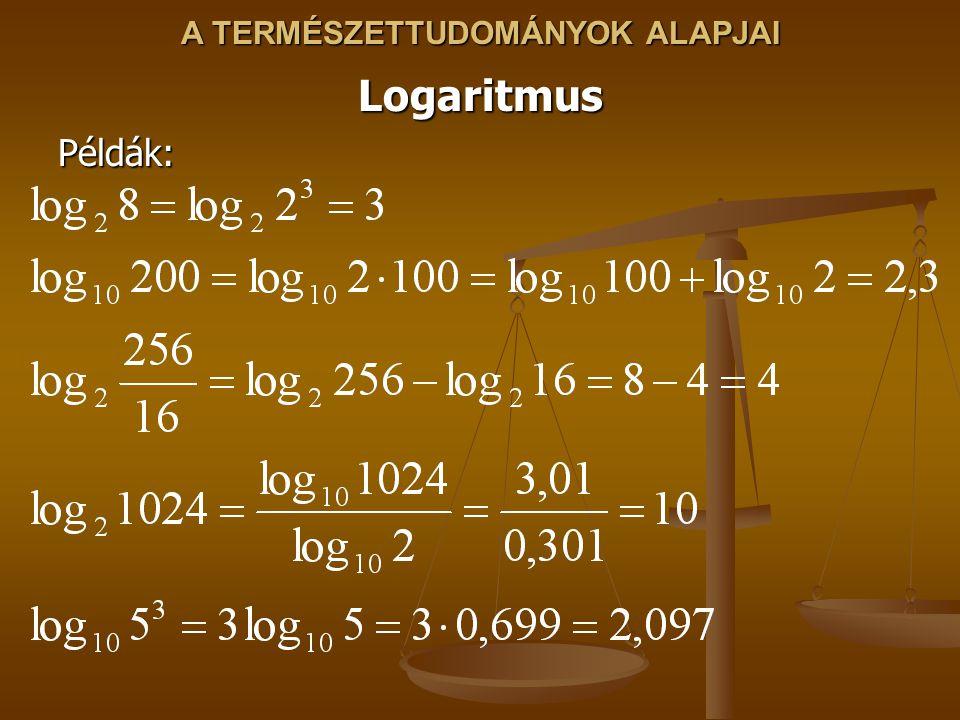 A TERMÉSZETTUDOMÁNYOK ALAPJAI LogaritmusPéldák:
