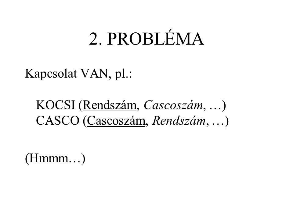2. PROBLÉMA Kapcsolat VAN, pl.: KOCSI (Rendszám, Cascoszám, …) CASCO (Cascoszám, Rendszám, …) (Hmmm…)