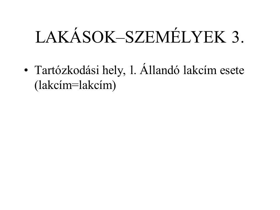 LAKÁSOK–SZEMÉLYEK 3. Tartózkodási hely, l. Állandó lakcím esete (lakcím=lakcím)
