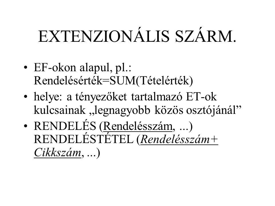 """EXTENZIONÁLIS SZÁRM. EF-okon alapul, pl.: Rendelésérték=SUM(Tételérték) helye: a tényezőket tartalmazó ET-ok kulcsainak """"legnagyobb közös osztójánál"""""""