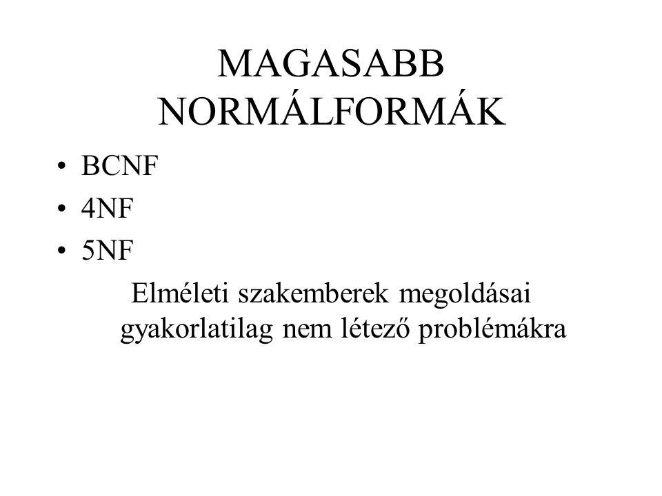 MAGASABB NORMÁLFORMÁK BCNF 4NF 5NF Elméleti szakemberek megoldásai gyakorlatilag nem létező problémákra