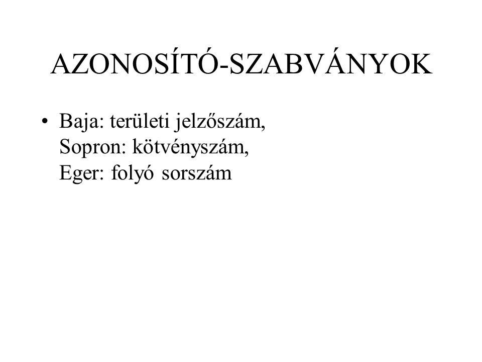 AZONOSÍTÓ-SZABVÁNYOK Baja: területi jelzőszám, Sopron: kötvényszám, Eger: folyó sorszám
