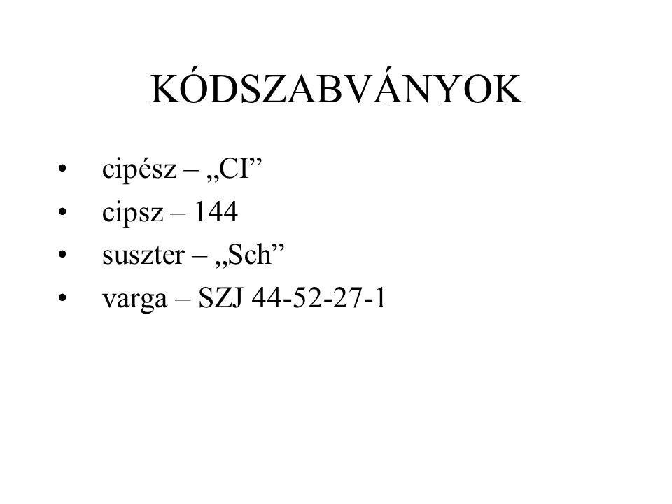 """KÓDSZABVÁNYOK cipész – """"CI"""" cipsz – 144 suszter – """"Sch"""" varga – SZJ 44-52-27-1"""