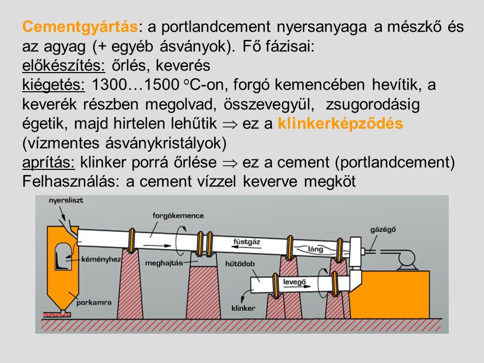 Cementgyártás: a portlandcement nyersanyaga a mészkő és az agyag (+ egyéb ásványok). Fő fázisai: előkészítés: őrlés, keverés kiégetés: 1300…1500 o C-o