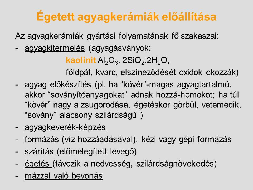Égetett agyagkerámiák előállítása Az agyagkerámiák gyártási folyamatának fő szakaszai: -agyagkitermelés (agyagásványok: kaolinit Al 2 O 3. 2SiO 2.2H 2