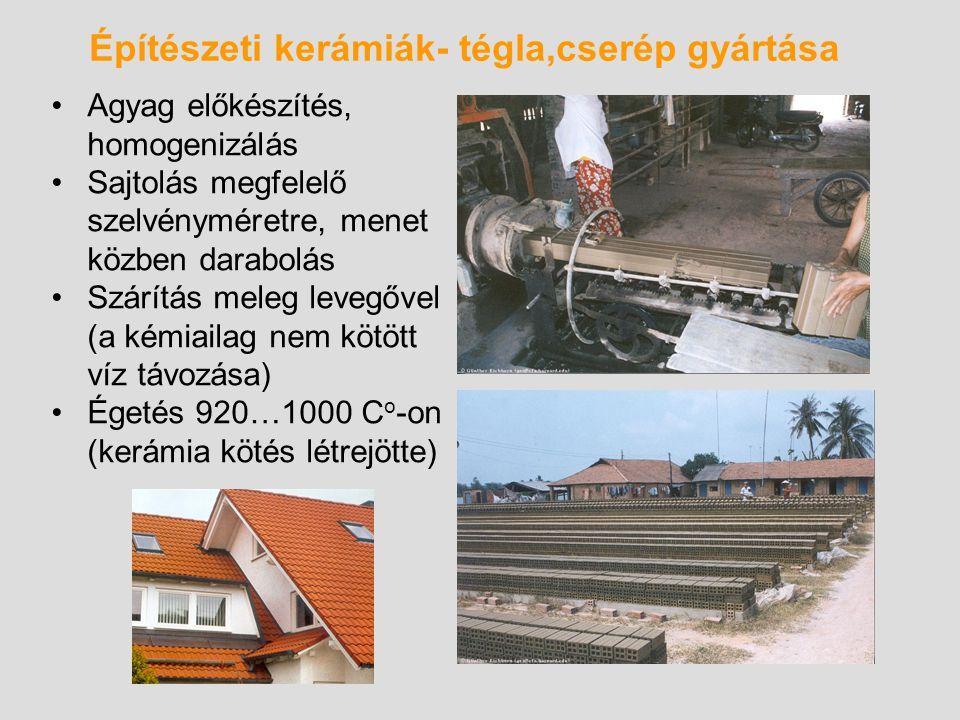 Építészeti kerámiák- tégla,cserép gyártása Agyag előkészítés, homogenizálás Sajtolás megfelelő szelvényméretre, menet közben darabolás Szárítás meleg
