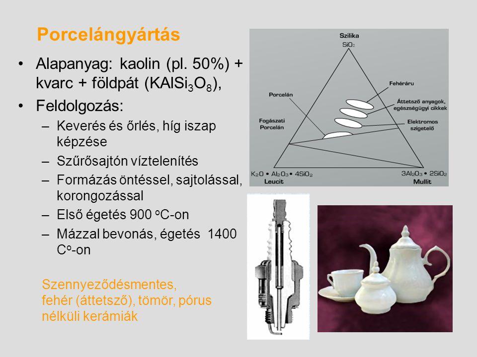 Porcelángyártás Alapanyag: kaolin (pl. 50%) + kvarc + földpát (KAlSi 3 O 8 ), Feldolgozás: –Keverés és őrlés, híg iszap képzése –Szűrősajtón víztelení