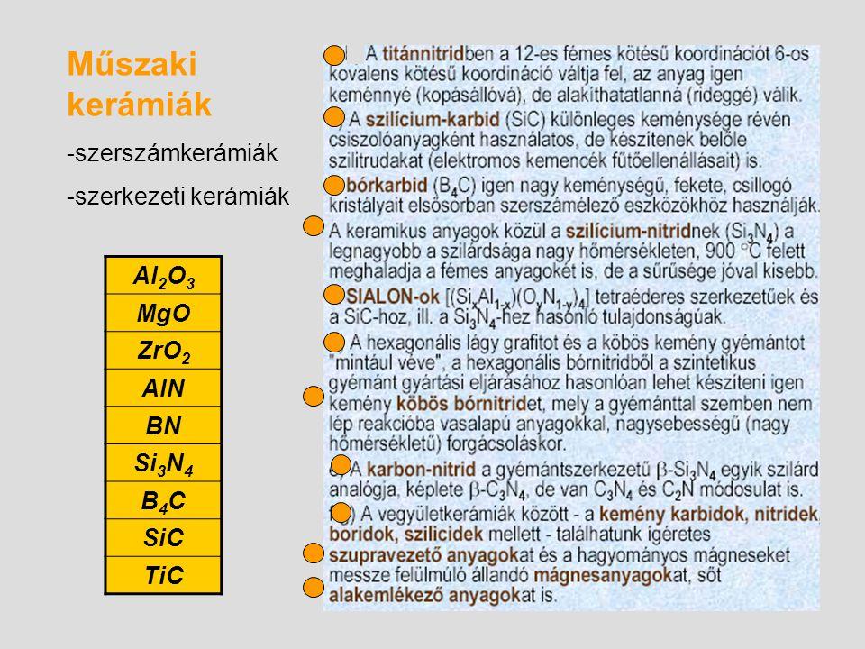 Al 2 O 3 MgO ZrO 2 AlN BN Si 3 N 4 B4CB4C SiC TiC Műszaki kerámiák -szerszámkerámiák -szerkezeti kerámiák