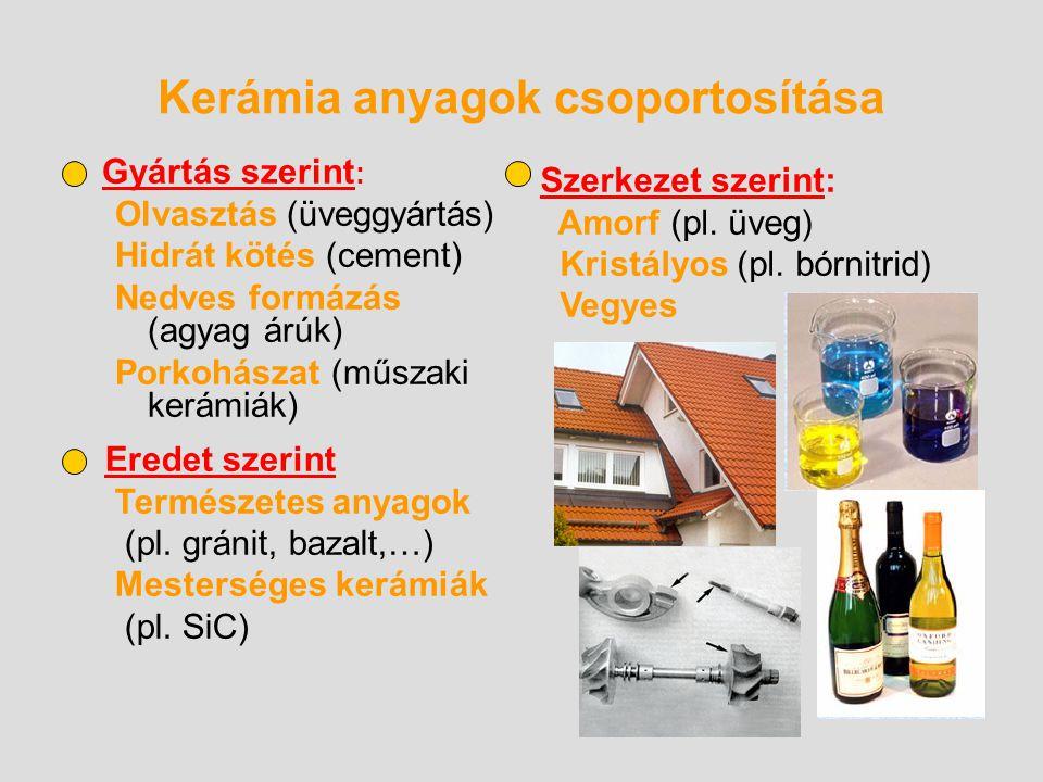 Kerámia anyagok csoportosítása Gyártás szerint : Olvasztás (üveggyártás) Hidrát kötés (cement) Nedves formázás (agyag árúk) Porkohászat (műszaki kerám