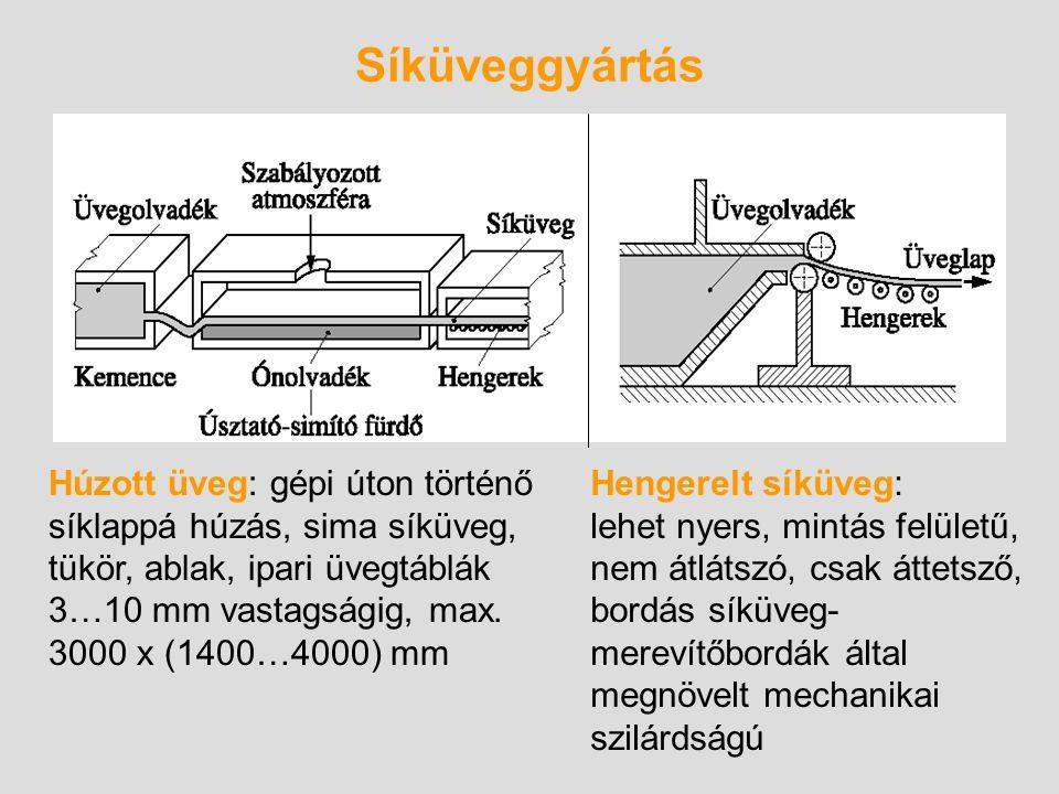 Síküveggyártás Húzott üveg: gépi úton történő síklappá húzás, sima síküveg, tükör, ablak, ipari üvegtáblák 3…10 mm vastagságig, max. 3000 x (1400…4000