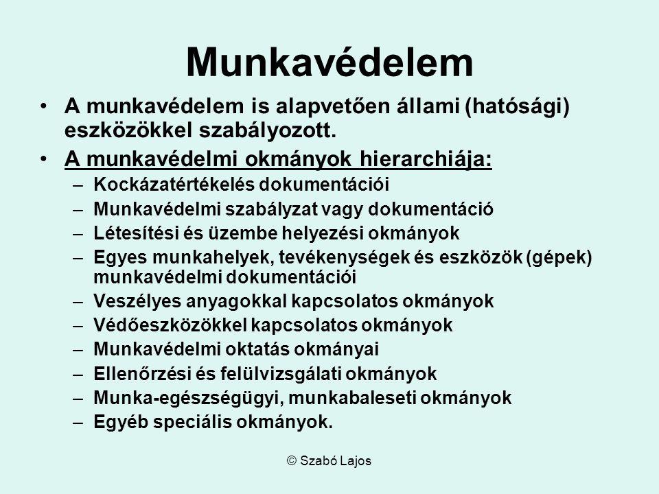 © Szabó Lajos Munkavédelem A munkavédelem is alapvetően állami (hatósági) eszközökkel szabályozott.