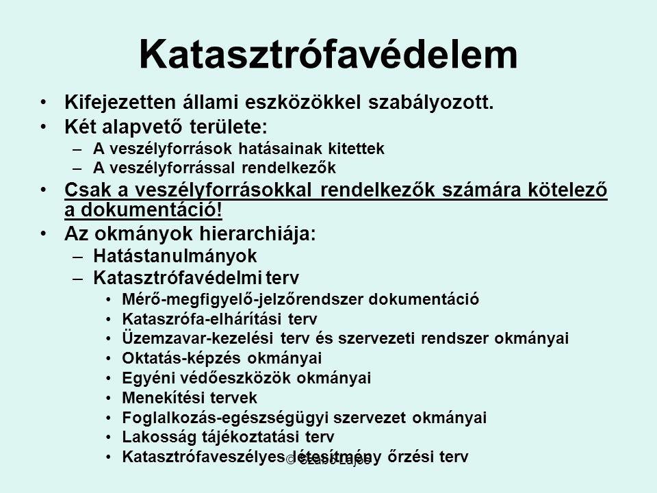 © Szabó Lajos Katasztrófavédelem Kifejezetten állami eszközökkel szabályozott. Két alapvető területe: –A veszélyforrások hatásainak kitettek –A veszél