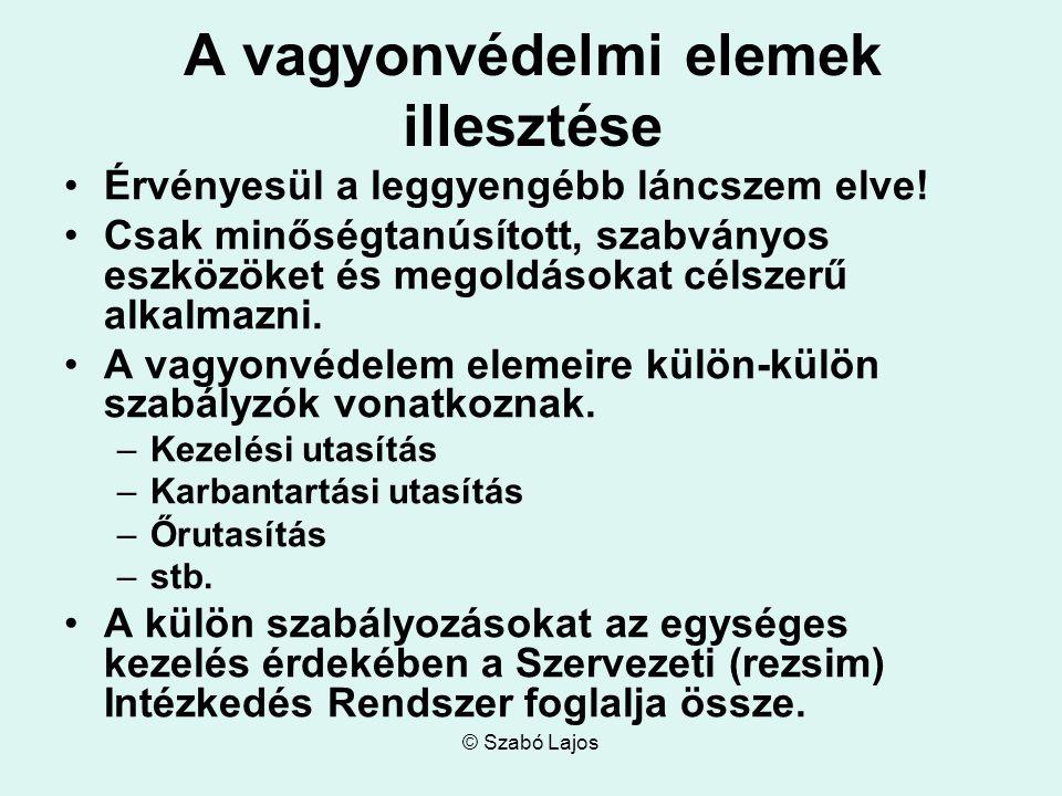 © Szabó Lajos A vagyonvédelmi elemek illesztése Érvényesül a leggyengébb láncszem elve! Csak minőségtanúsított, szabványos eszközöket és megoldásokat