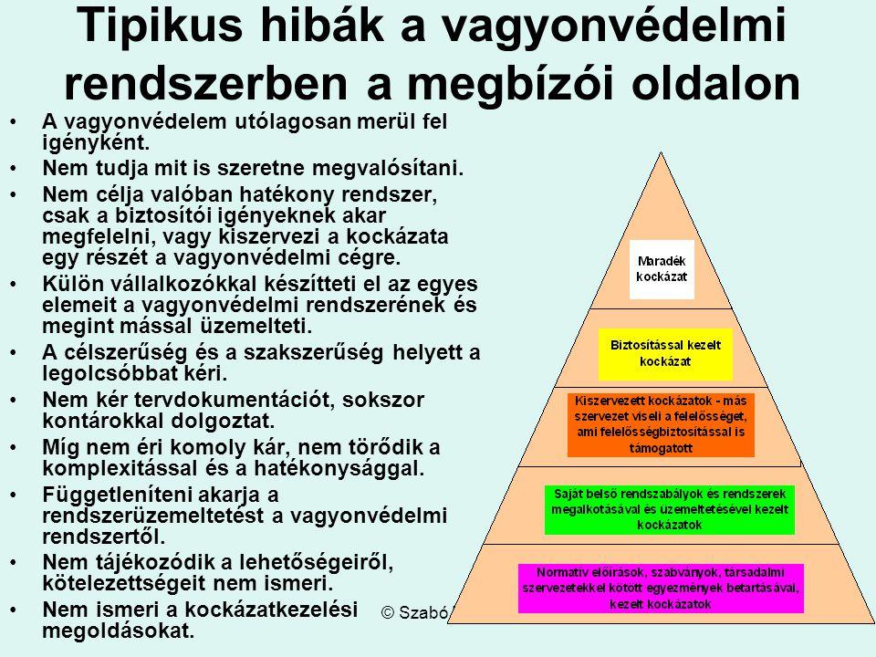 © Szabó Lajos Tipikus hibák a vagyonvédelmi rendszerben a megbízói oldalon A vagyonvédelem utólagosan merül fel igényként.