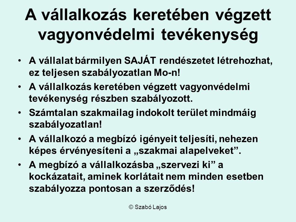 © Szabó Lajos A vállalkozás keretében végzett vagyonvédelmi tevékenység A vállalat bármilyen SAJÁT rendészetet létrehozhat, ez teljesen szabályozatlan Mo-n.