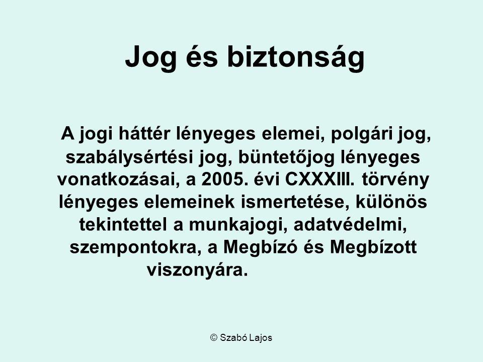 © Szabó Lajos Jog és biztonság A jogi háttér lényeges elemei, polgári jog, szabálysértési jog, büntetőjog lényeges vonatkozásai, a 2005.