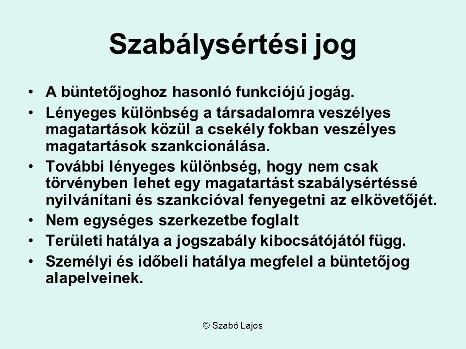 © Szabó Lajos Szabálysértési jog A büntetőjoghoz hasonló funkciójú jogág.