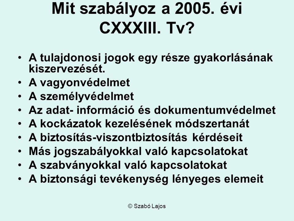 © Szabó Lajos Mit szabályoz a 2005. évi CXXXIII. Tv.