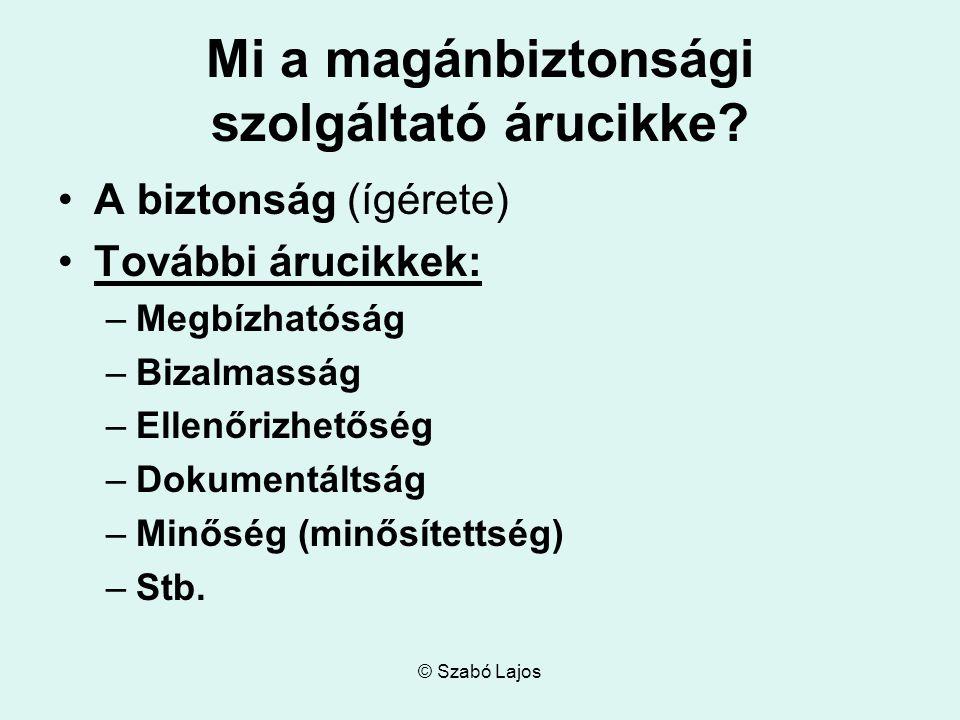 © Szabó Lajos Mi a magánbiztonsági szolgáltató árucikke.