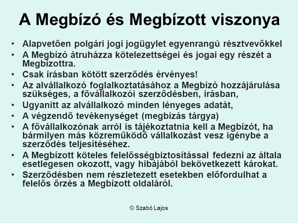 © Szabó Lajos A Megbízó és Megbízott viszonya Alapvetően polgári jogi jogügylet egyenrangú résztvevőkkel A Megbízó átruházza kötelezettségei és jogai egy részét a Megbízottra.