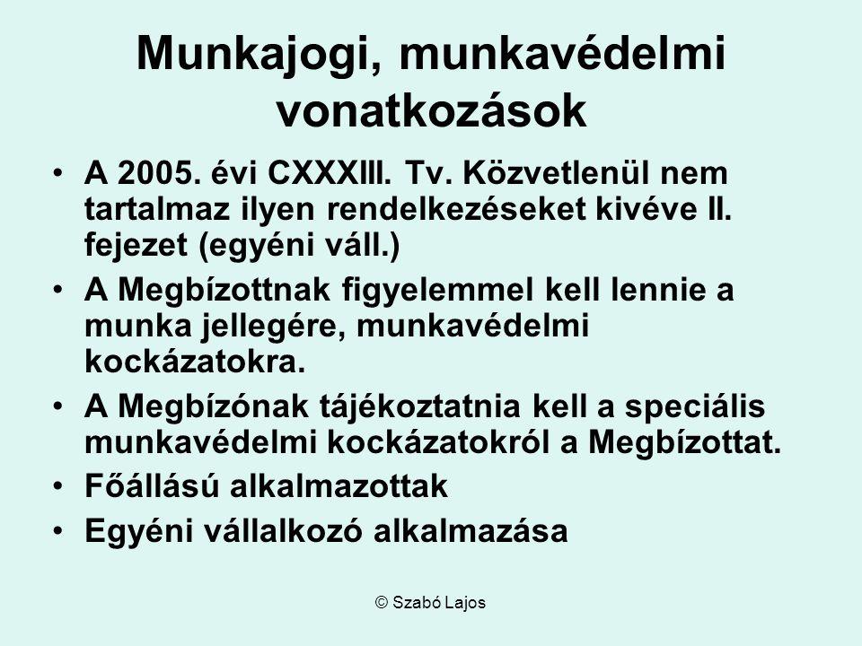 © Szabó Lajos Munkajogi, munkavédelmi vonatkozások A 2005.