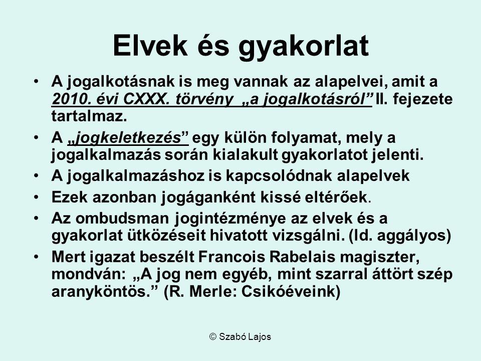 © Szabó Lajos Elvek és gyakorlat A jogalkotásnak is meg vannak az alapelvei, amit a 2010.