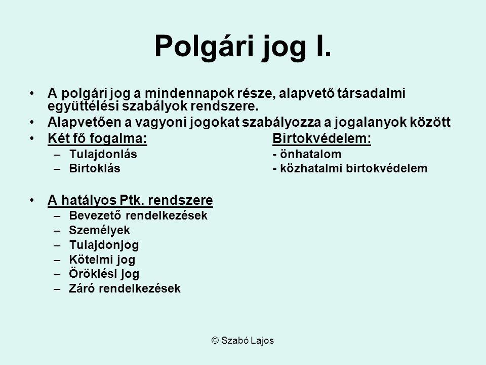 © Szabó Lajos Polgári jog I.