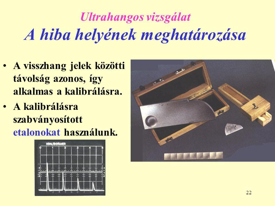 22 Ultrahangos vizsgálat A hiba helyének meghatározása A visszhang jelek közötti távolság azonos, így alkalmas a kalibrálásra.