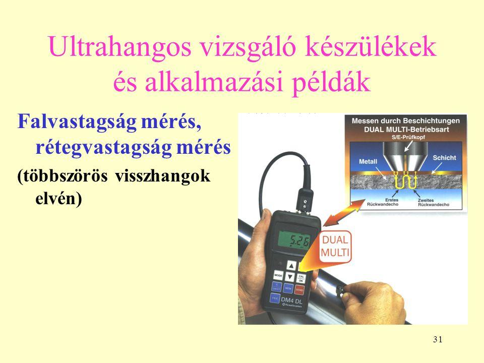 31 Ultrahangos vizsgáló készülékek és alkalmazási példák Falvastagság mérés, rétegvastagság mérés (többszörös visszhangok elvén)