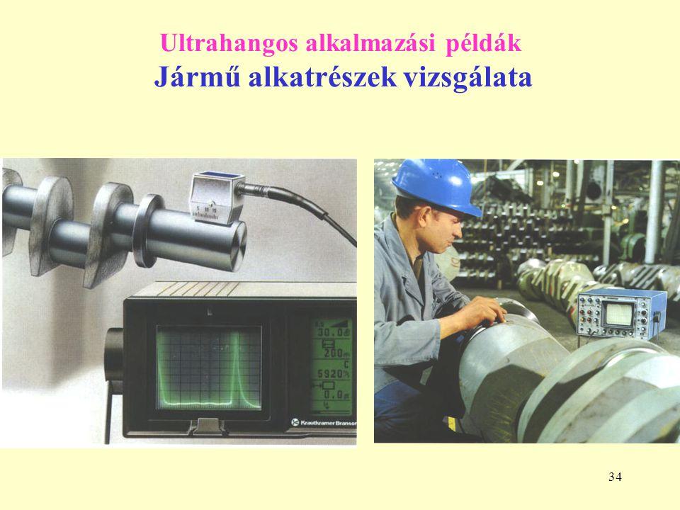 34 Ultrahangos alkalmazási példák Jármű alkatrészek vizsgálata