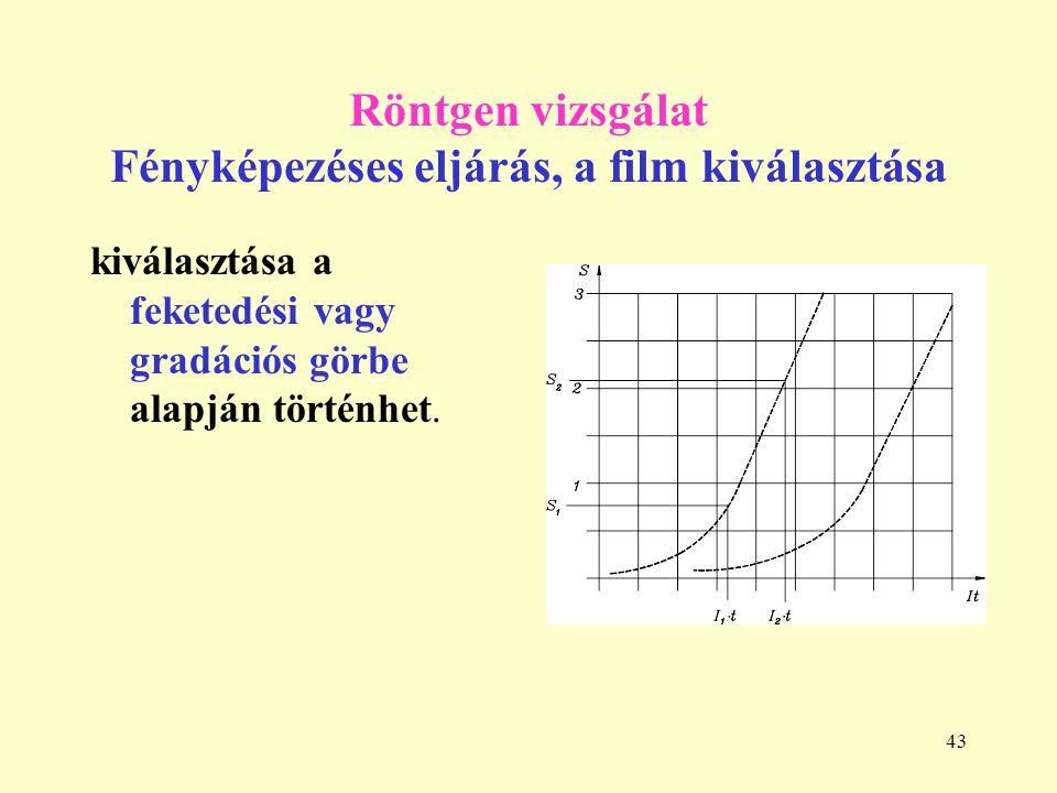 43 Röntgen vizsgálat Fényképezéses eljárás, a film kiválasztása kiválasztása a feketedési vagy gradációs görbe alapján történhet.