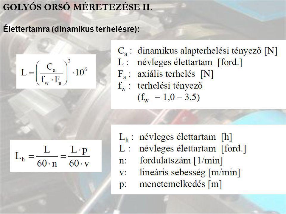 GOLYÓS ORSÓ MÉRETEZÉSE II. Élettertamra (dinamikus terhelésre):