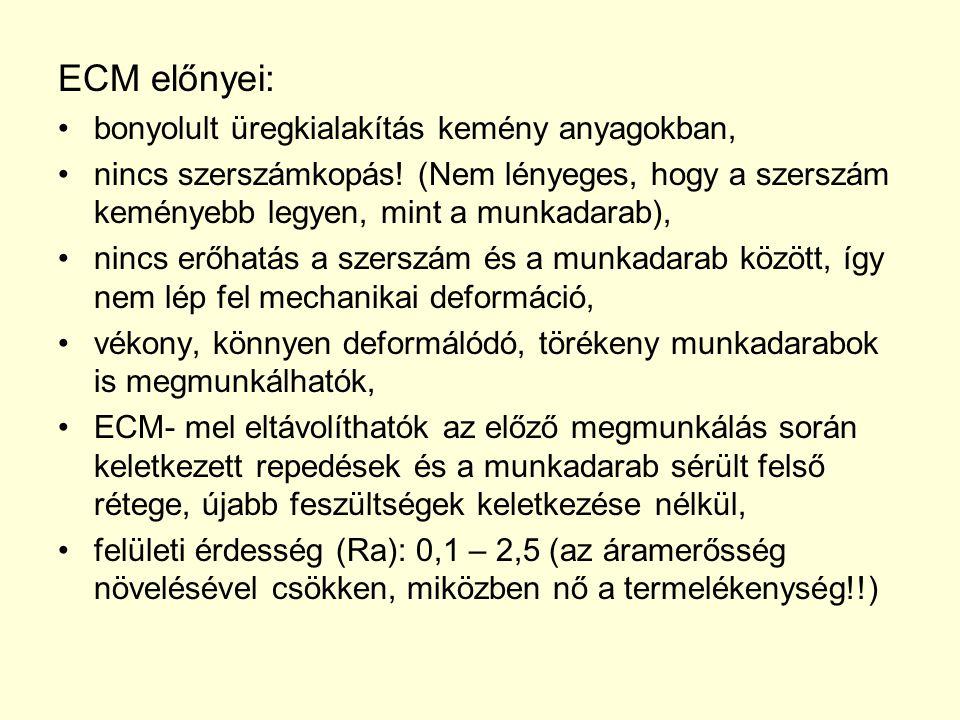 ECM előnyei: bonyolult üregkialakítás kemény anyagokban, nincs szerszámkopás! (Nem lényeges, hogy a szerszám keményebb legyen, mint a munkadarab), nin