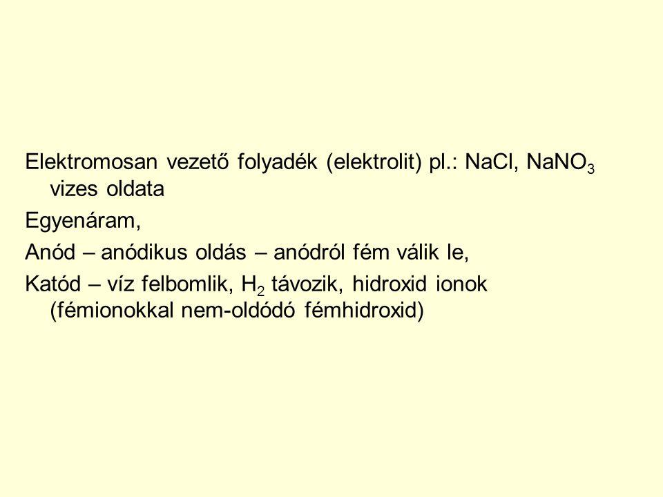 Elektromosan vezető folyadék (elektrolit) pl.: NaCl, NaNO 3 vizes oldata Egyenáram, Anód – anódikus oldás – anódról fém válik le, Katód – víz felbomli
