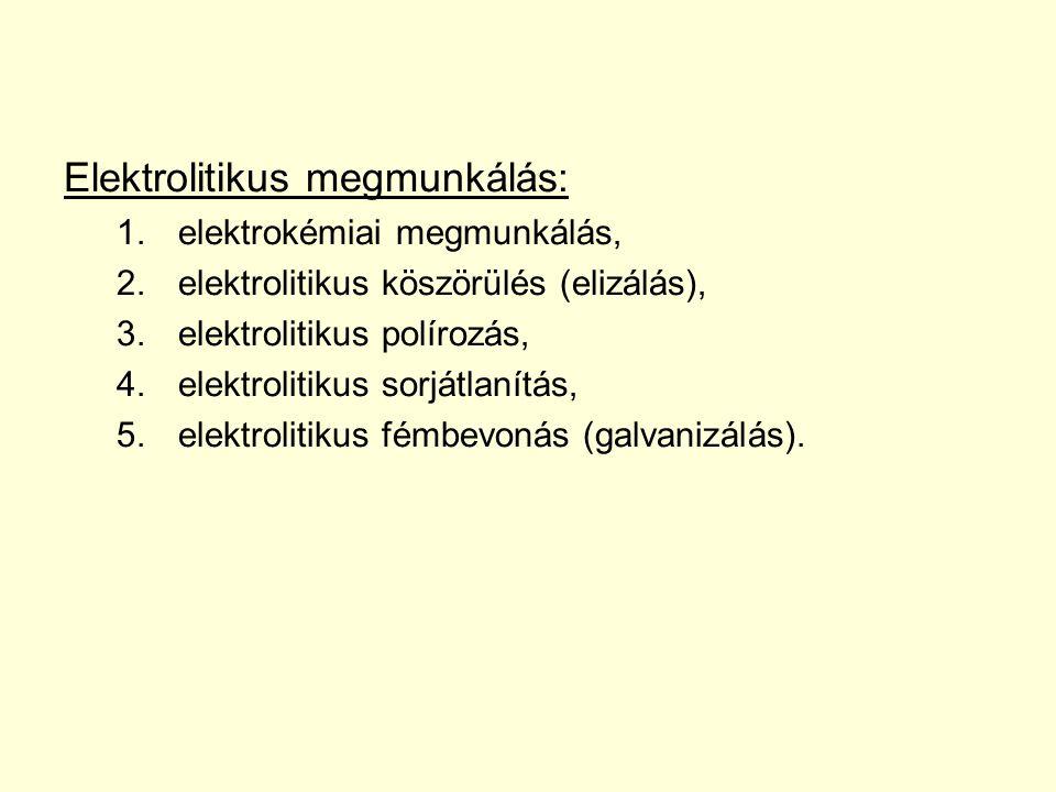 Elektrolitikus megmunkálás: 1.elektrokémiai megmunkálás, 2.elektrolitikus köszörülés (elizálás), 3.elektrolitikus polírozás, 4.elektrolitikus sorjátla