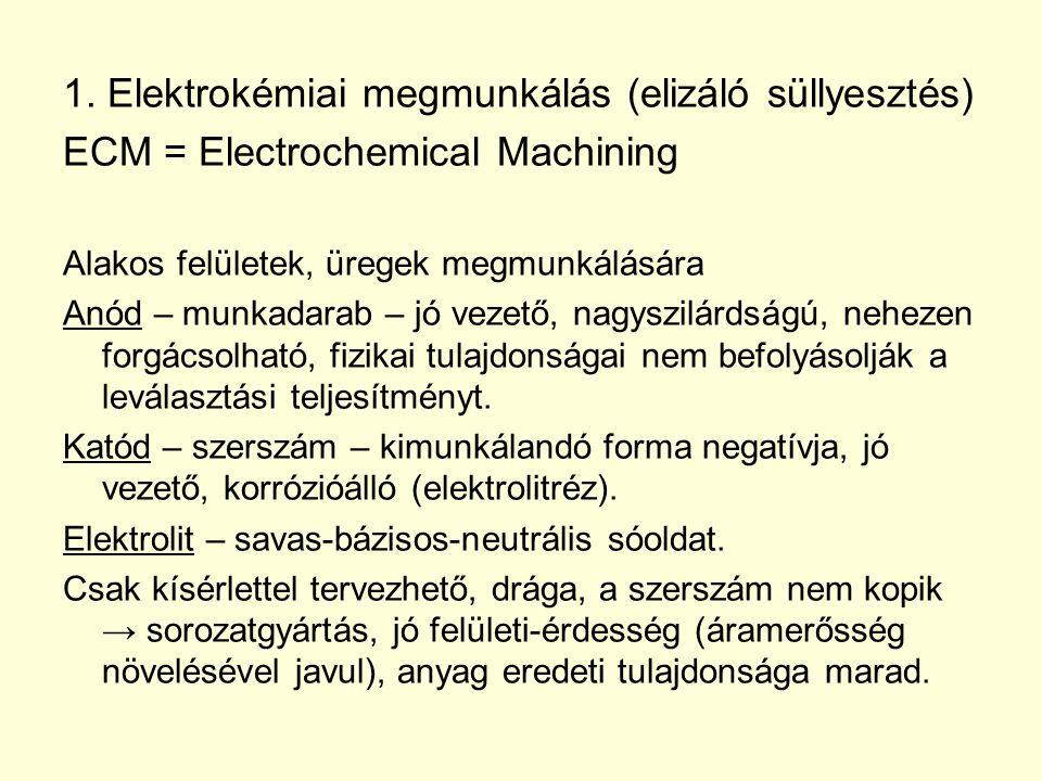 1. Elektrokémiai megmunkálás (elizáló süllyesztés) ECM = Electrochemical Machining Alakos felületek, üregek megmunkálására Anód – munkadarab – jó veze
